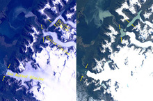 Significant retreats of huge glaciers in Patagonia, South America