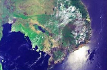 The satellite photos of vegetation in Indochina