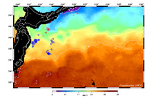 The images indicate estimated sea-surface temperature and fishing areas around Japan