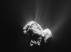 Comet 67p/Churyumov-Gerasimenko imaged by Rosetta (courtesy of ESA/Rosetta/Navcam)