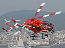 Kobe City Firefighting helicopter equipped with a D-NET terminal (courtesy: Kobe City Fire Department)