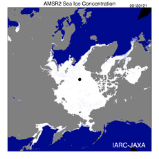 Density of sea ice concentration in the Arctic region as obtained by AMSR2 (courtesy: JAXA)