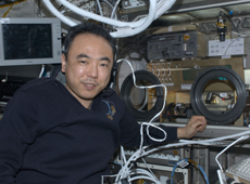 Astronaut Satoshi Furukawa during his long-term stay on the ISS (courtesy of JAXA/NASA)
