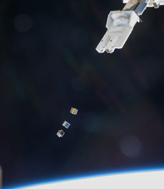 Three microsatellites released from the Japanese Experiment Module Kibo. Two microsatellites, chosen from NASA's open call, were released with PicoDragon