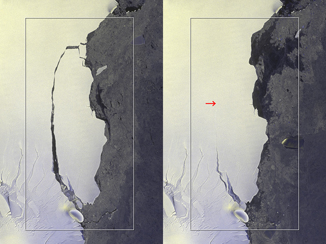 ALOS-2 Captures Massive Iceberg's Breakoff from Antarctica