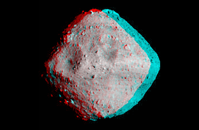 Stereo image of asteroid Ryugu by Dr. Brian May