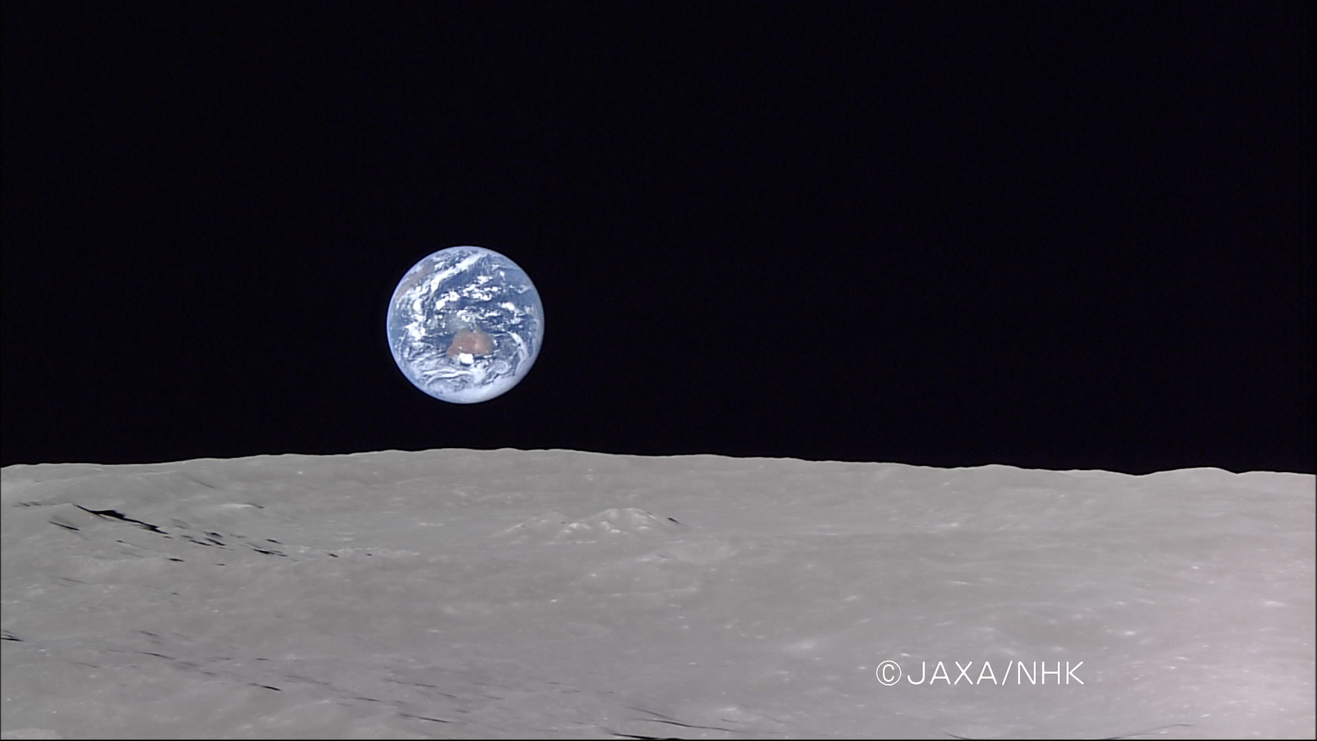 "jaxa | kaguya (selene) image taking of ""full earth-rise""hdtv"