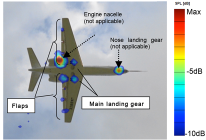 With noise reduction design  applied to the flaps and main landing gear  (modified aircraft)