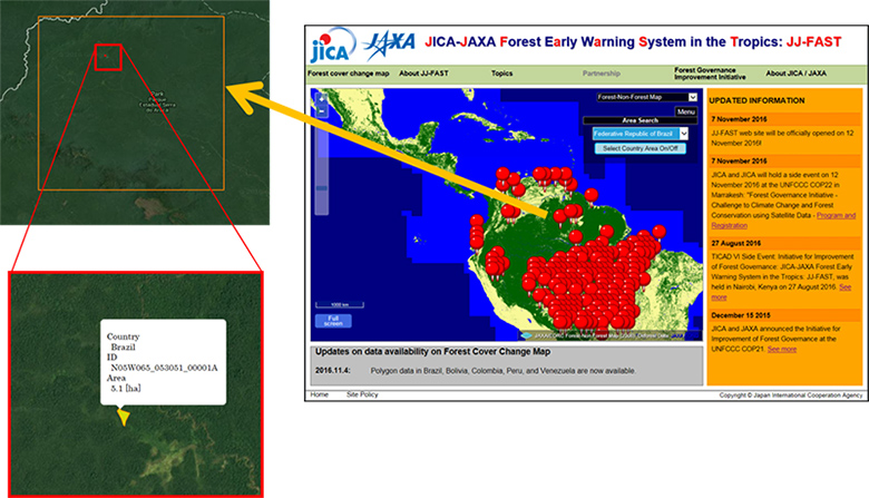 JICA-JAXA Forest Early Warning System in the Tropics (JJ-FAST) Website