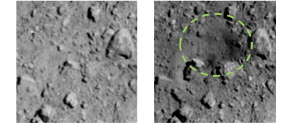Før og efter billede af krateret i asteroiden Ryugu