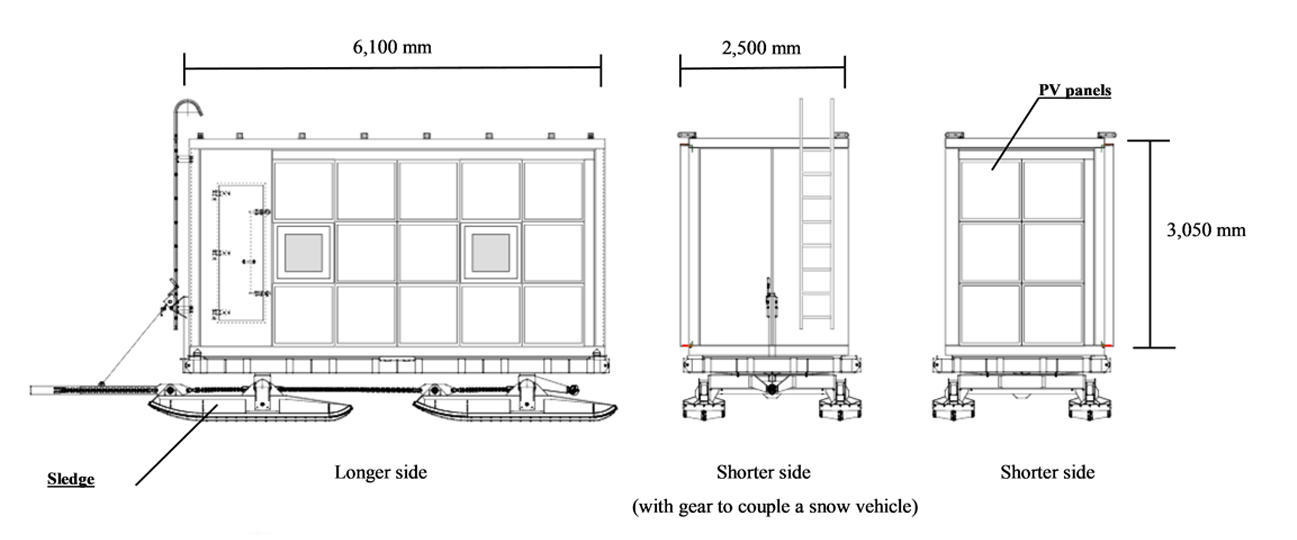 Elevational views of Antarctica mobile station unit