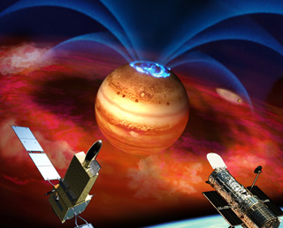 HISAKI's first observation of Jupiter's magnetosphere