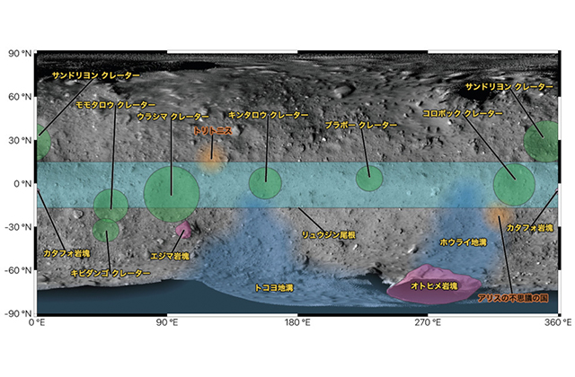 [HAYABUSA2 PROJECT] Locations on the surface of Ryugu have been named!