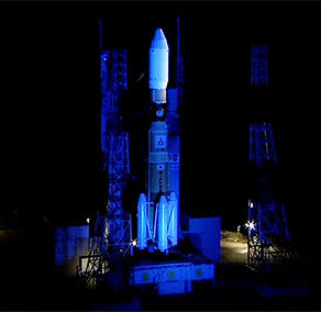 H-IIB Vehicle light up in blue before its launch