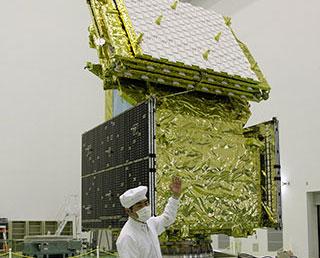 DAICHI-2 (ALOS-2) revealed to the media at TNSC