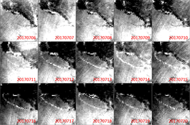 Huge Iceberg Breaks away from Antarctic Ice Sheet — Shizuku Satellite Observations Detect