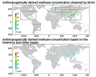 IBUKI methane observation data: close correlation between methane concentration and human activity